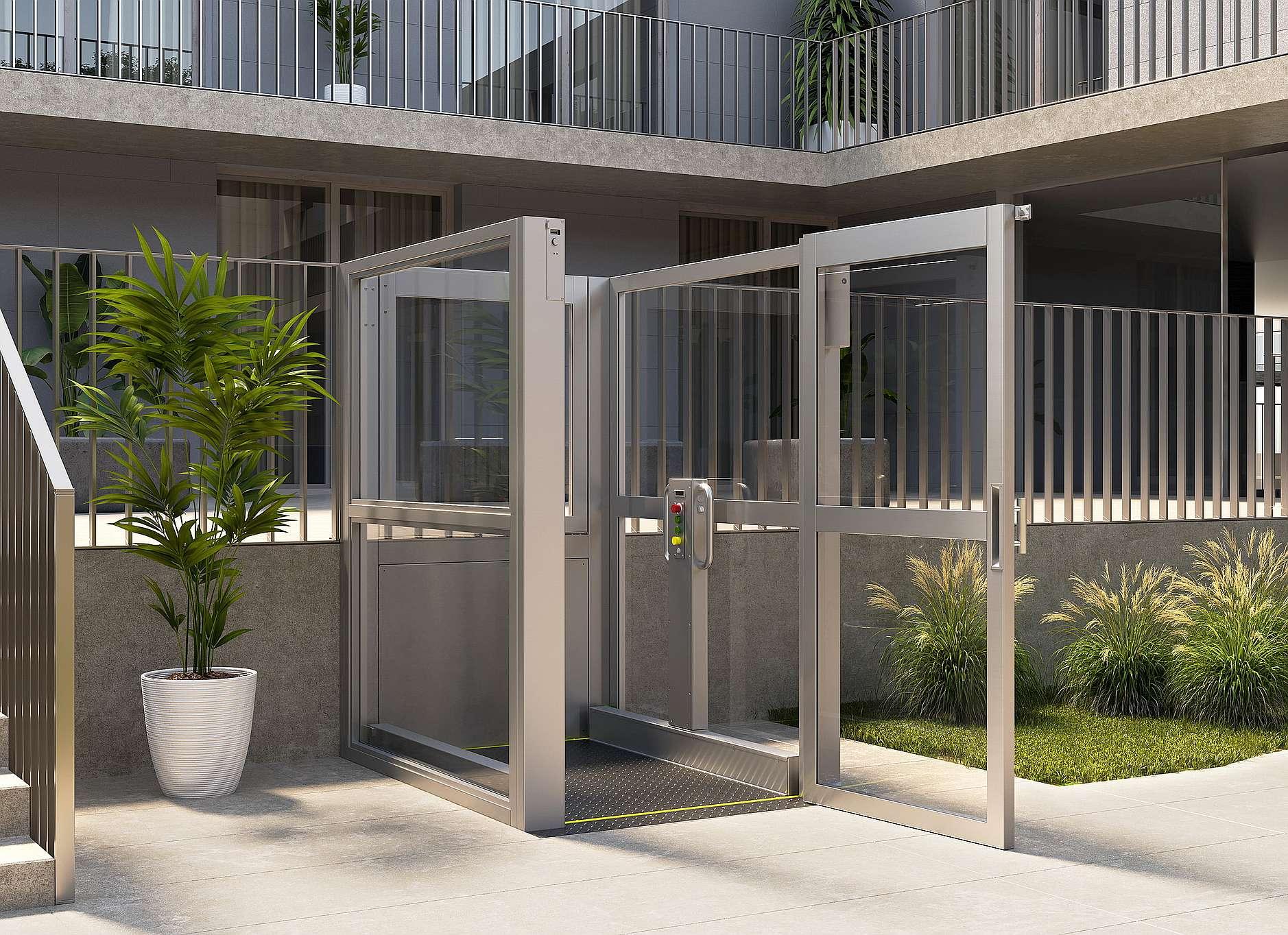 Plate-forme élévatrice verticale avec cage 1,5m